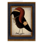 Christmas Primitive Crow Design Holiday Card