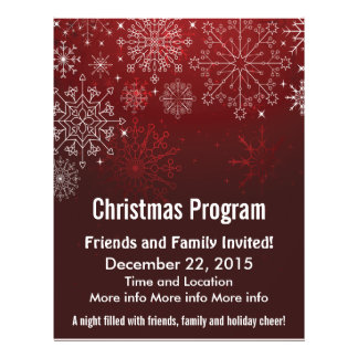 Christmas Program Red Snowflakes Flyer