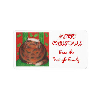 Christmas Pud 'from family' gift tag white Label