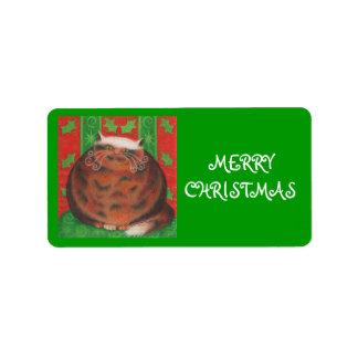 Christmas Pud 'Merry Christmas' gift tag label