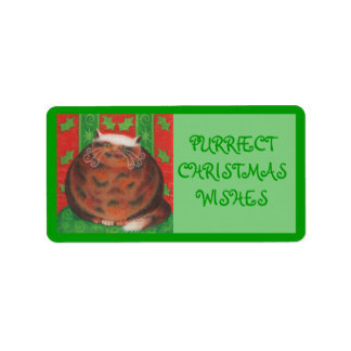 Christmas Pud 'Purrfect' gift tag label