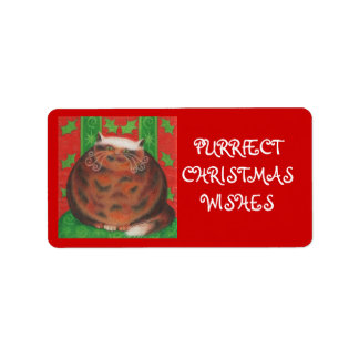Christmas Pud 'Purrfect' gift tag label red