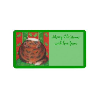 Christmas Pud 'with love from' gift tag label