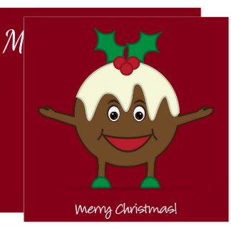 Christmas pudding cartoon character card