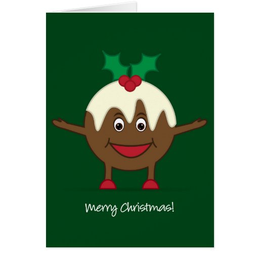 E Card Cartoon Characters : Christmas pudding cartoon character card zazzle