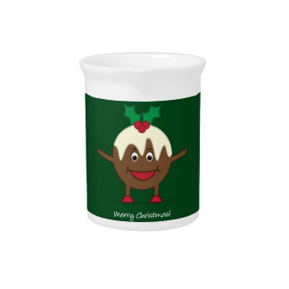 Christmas pudding cartoon character drink pitcher