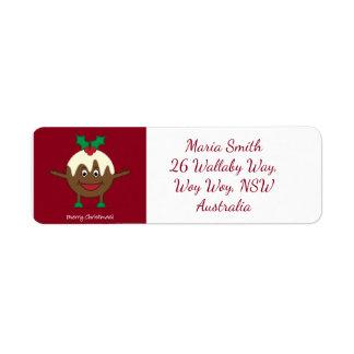 Christmas pudding cartoon character label