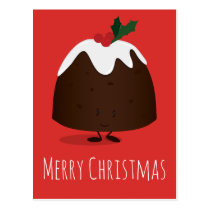 Christmas Pudding Cartoon Character | Postcard