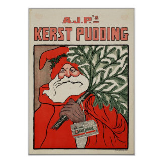 Christmas Pudding Dutch Advertising Poster