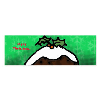 Christmas Pudding Gift Tag Double-Sided Mini Business Cards (Pack Of 20)