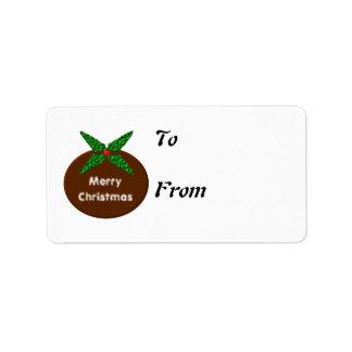 Christmas Pudding Gift Tags Label