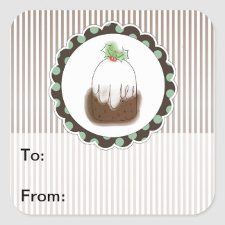 Christmas Pudding Gift Tags Square Sticker