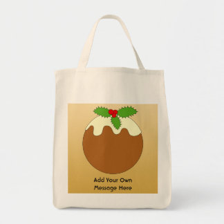 Christmas Pudding. Gold color background. Canvas Bag