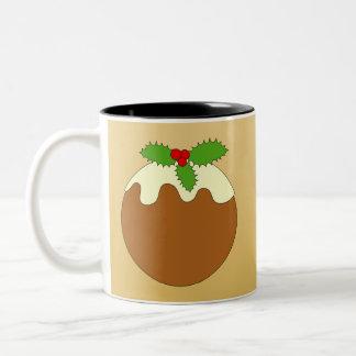 Christmas Pudding. Gold color background. Coffee Mug