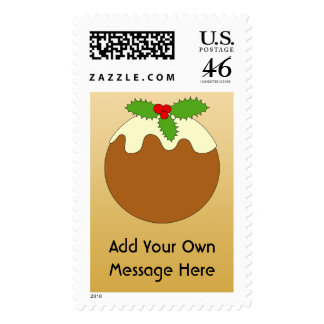 Christmas Pudding Gold color background Postage