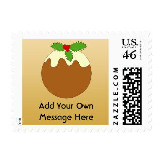Christmas Pudding Gold color background Postage Stamp
