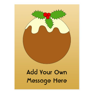 Christmas Pudding. Gold color background. Postcard