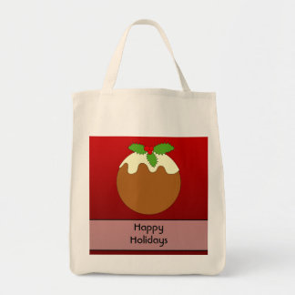 Christmas Pudding. Happy Holidays. On Red Tote Bag