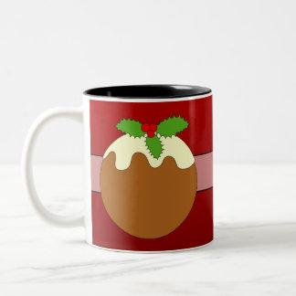 Christmas Pudding. Happy Holidays. On Red Coffee Mugs