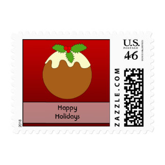 Christmas Pudding Happy Holidays On Red Postage Stamp