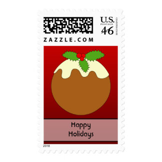 Christmas Pudding Happy Holidays On Red Stamp