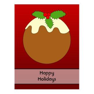 Christmas Pudding. Happy Holidays. On Red Postcard