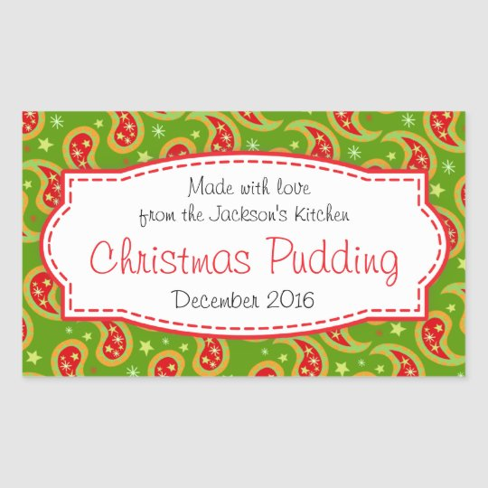 Christmas pudding paisley green food label sticker