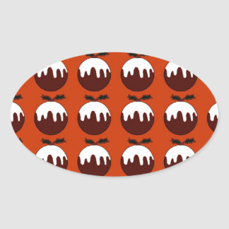 Christmas pudding red oval sticker