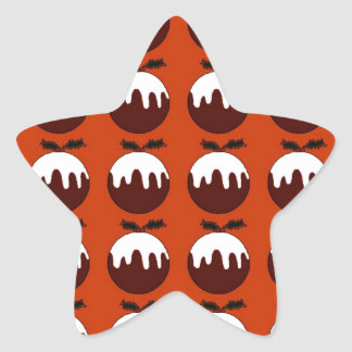 Christmas pudding red star sticker