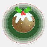 Christmas Pudding Round Stickers