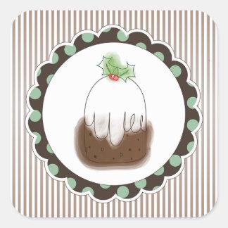 Christmas Pudding Square Sticker