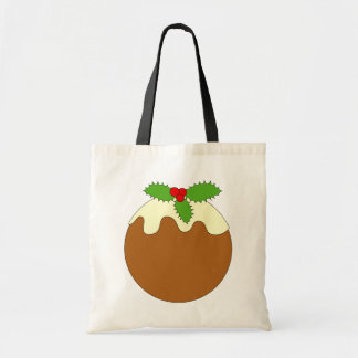 Christmas Pudding. White background. Tote Bags