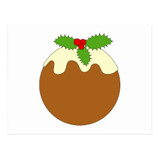 Christmas Pudding. White background. Postcard