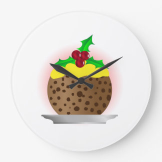 Christmas Pudding With Custard And Holly Sprig Large Clock