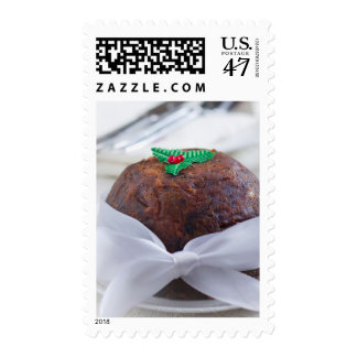 Christmas Pudding with Red Bow. Mumbai, India. Postage