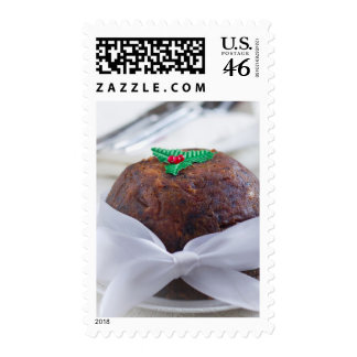 Christmas Pudding with Red Bow Mumbai India Postage Stamps