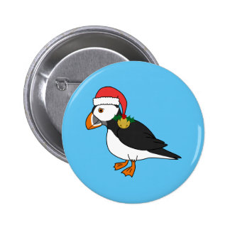 Christmas Puffin with Red Hat & Gold Jingle Bell 2 Inch Round Button
