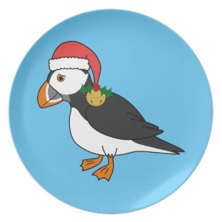 Christmas Puffin with Red Hat & Gold Jingle Bell Dinner Plate