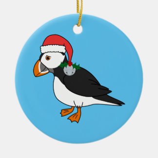 Christmas Puffin with Red Hat & Silver Jingle Bell Ceramic Ornament