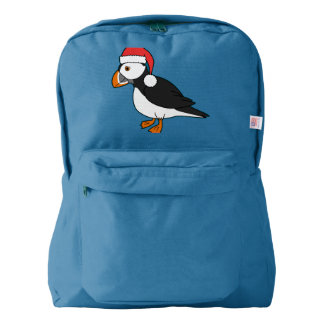 Christmas Puffin with Red Santa Hat Backpack