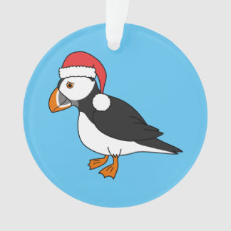 Christmas Puffin with Red Santa Hat Ornament