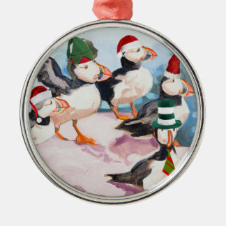Christmas Puffins Metal Ornament