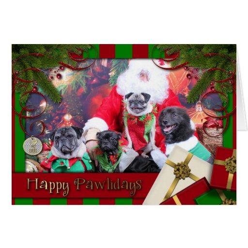 Christmas Pug Bruno Pearl Ms Wiggles - ChiPom Bear Greeting Card