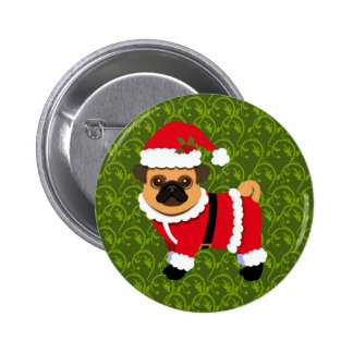Christmas pug button