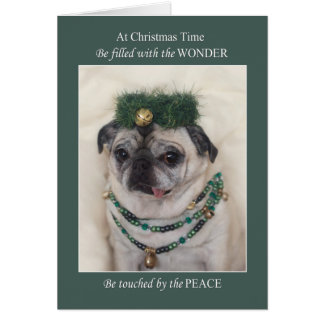 Christmas Pug Card Believe in the Miracle