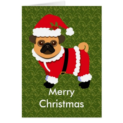 pug in santa suit holiday card
