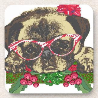 Christmas Pug Beverage Coaster