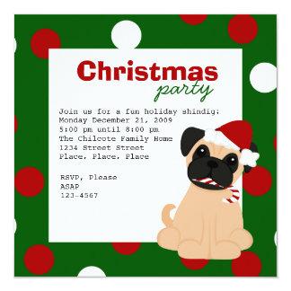 Christmas Pug Custom Invitation
