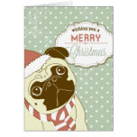 Christmas Pug! Cute little dog in santa hat Greeting Card