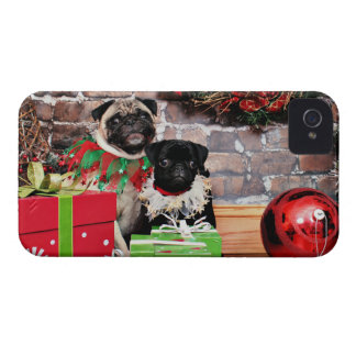 Christmas - Pug - Daisy Mae and Lily Lou iPhone 4 Cases